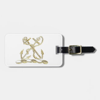 Double Anchor Heraldic Crest Emblem Faux Gold Luggage Tag
