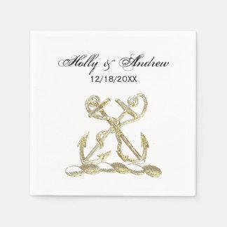 Double Anchor Heraldic Crest Emblem Faux Gold Napkin