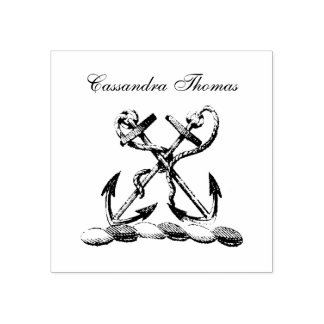 Double Anchor Heraldic Crest Emblem Faux Gold Rubber Stamp