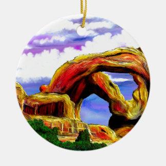 Double Arch Landscape Painting Ceramic Ornament
