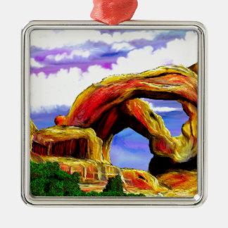 Double Arch Landscape Painting Metal Ornament
