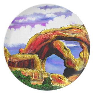 Double Arch Landscape Painting Plate