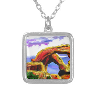 Double Arch Landscape Painting Silver Plated Necklace