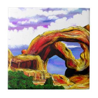 Double Arch Landscape Painting Tile