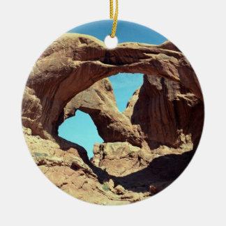 Double Arch Round Ceramic Ornament