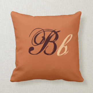 Double B Monogram in Brown and Beige I Throw Pillow