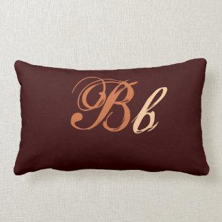 Double B Monogram in Brown and Beige Lumbar Pillow