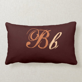 Double B Monogram in Brown and Beige Throw Pillows
