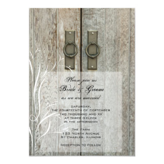 Double Barn Doors Country Farm Wedding Invitation