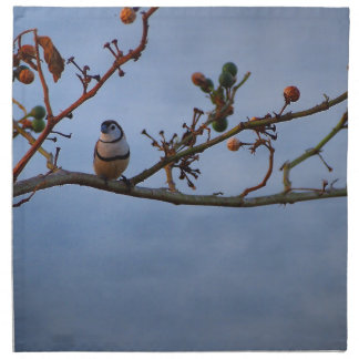 Double-barred finch on branch napkin