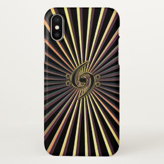 Double Bass Clef Spiral Metal iPhone X Case