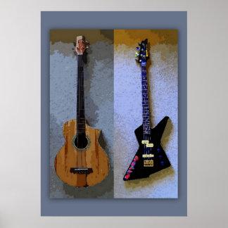 Double Bass Guitars Art Poster