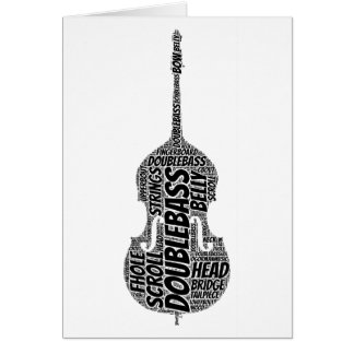 Double Bass Shaped Word Art Black Text Card