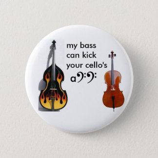 Double bass vs. cello 2 inch round button