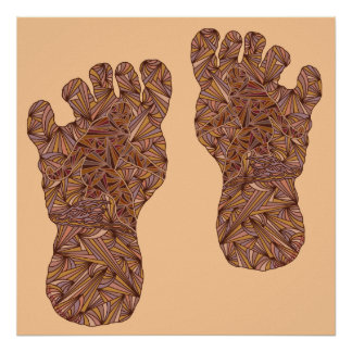 "Double Bigfoot Sasquatch Yeti Art 24"" x 24"" Print"