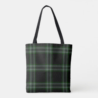 Double Black Green Grey Tartan Plaid Tote Bag