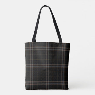 Double Black Grey Yellow Tartan Plaid Tote Bag