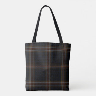 Double Black Red Grey Yellow Tartan Plaid Tote Bag
