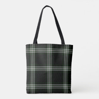 Double Black White Green Tartan Plaid Tote Bag