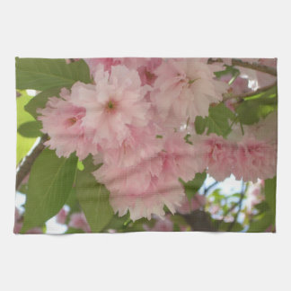 Double Blossoming Cherry Tree II Pink Spring Kitchen Towel