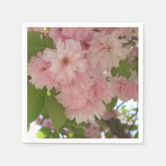 Double Blossoming Cherry Tree II Pink Spring Paper Napkin