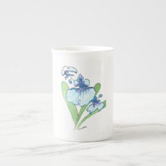 double blue orchid teacup tea cup