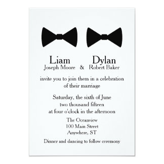 """Double Bow Ties"" Invitation"