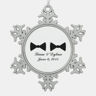 """""""Double Bow Ties"""" Pewter Ornament"""