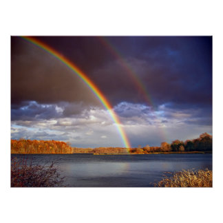 Double Bows Rainbows over lake Poster