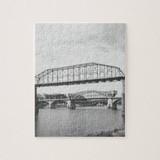 Double Bridge Black and White Photography Jigsaw Puzzle