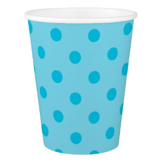 Double Bright Blue Polka Dots Paper Cup