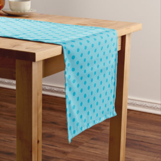 Double Bright Blue Polka Dots Short Table Runner