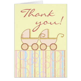 Double Carriage Twin Girl Thank You Card