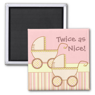 Double Carriage Twin Girls Magnet