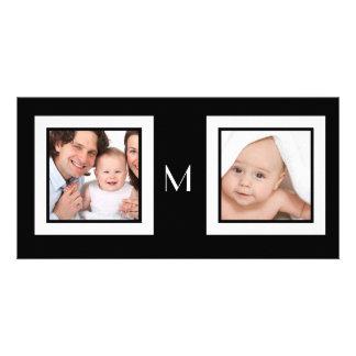 Double carte photo de monogramme