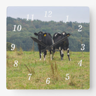Double Cattle Troube Square Wall Clock