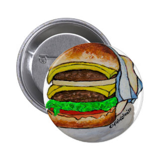 Double Cheeseburger 2 Inch Round Button