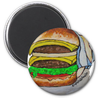 Double Cheeseburger 2 Inch Round Magnet