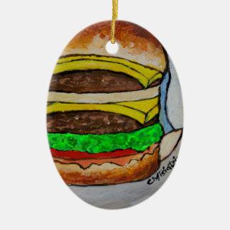 Double Cheeseburger Ceramic Ornament
