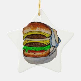 Double Cheeseburger Ceramic Star Ornament