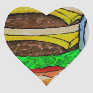 Double Cheeseburger Heart Sticker