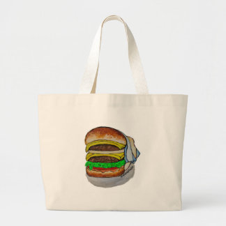 Double Cheeseburger Large Tote Bag