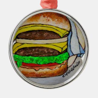 Double Cheeseburger Metal Ornament