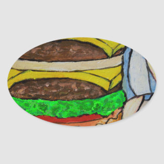 Double Cheeseburger Oval Sticker