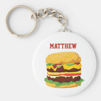 Double Cheeseburger Personalized Keychain