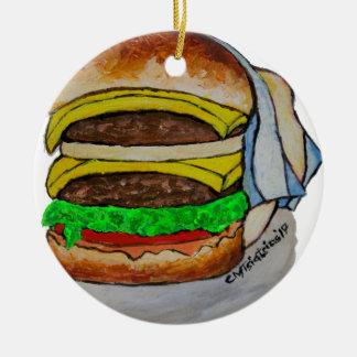 Double Cheeseburger Round Ceramic Ornament