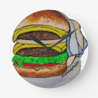 Double Cheeseburger Round Clock