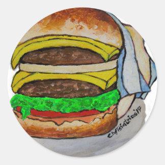 Double Cheeseburger Round Sticker