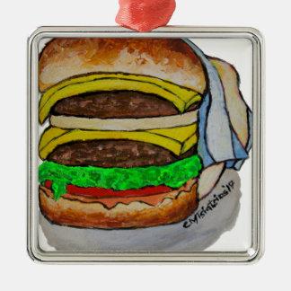 Double Cheeseburger Silver-Colored Square Ornament