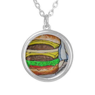 Double Cheeseburger Silver Plated Necklace